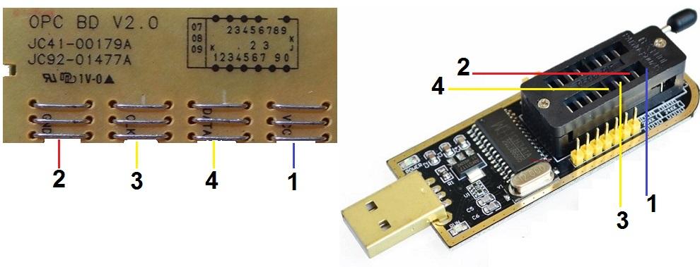 контакты чипа и программатора
