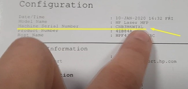 серийный номер принтера